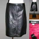 Buttersoft Tommy Hilfiger Womens leather tab front skirt black 8 A Line