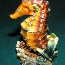 Brown Seahorse Bejeweled crystal Enameled Hinged Trinket Box