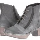 New NAOT Avila lace up textured leather chunky heel ankle boots gray $229 38 us7