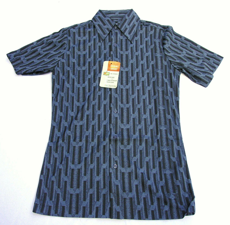 Deadstock VTG 70s S/S polyester slim fit shirt disco hipster S 14-14 1/2