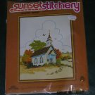 Sunset Stitchery - Country Church - A Variety of Crewel Stitches - 14 x 18 new