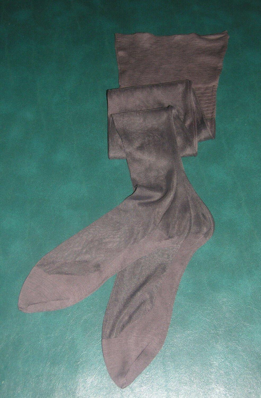"""1 pr vintage 11 X 33 1/2"""" grey outsize plus size seamed nylon garter stockings"""