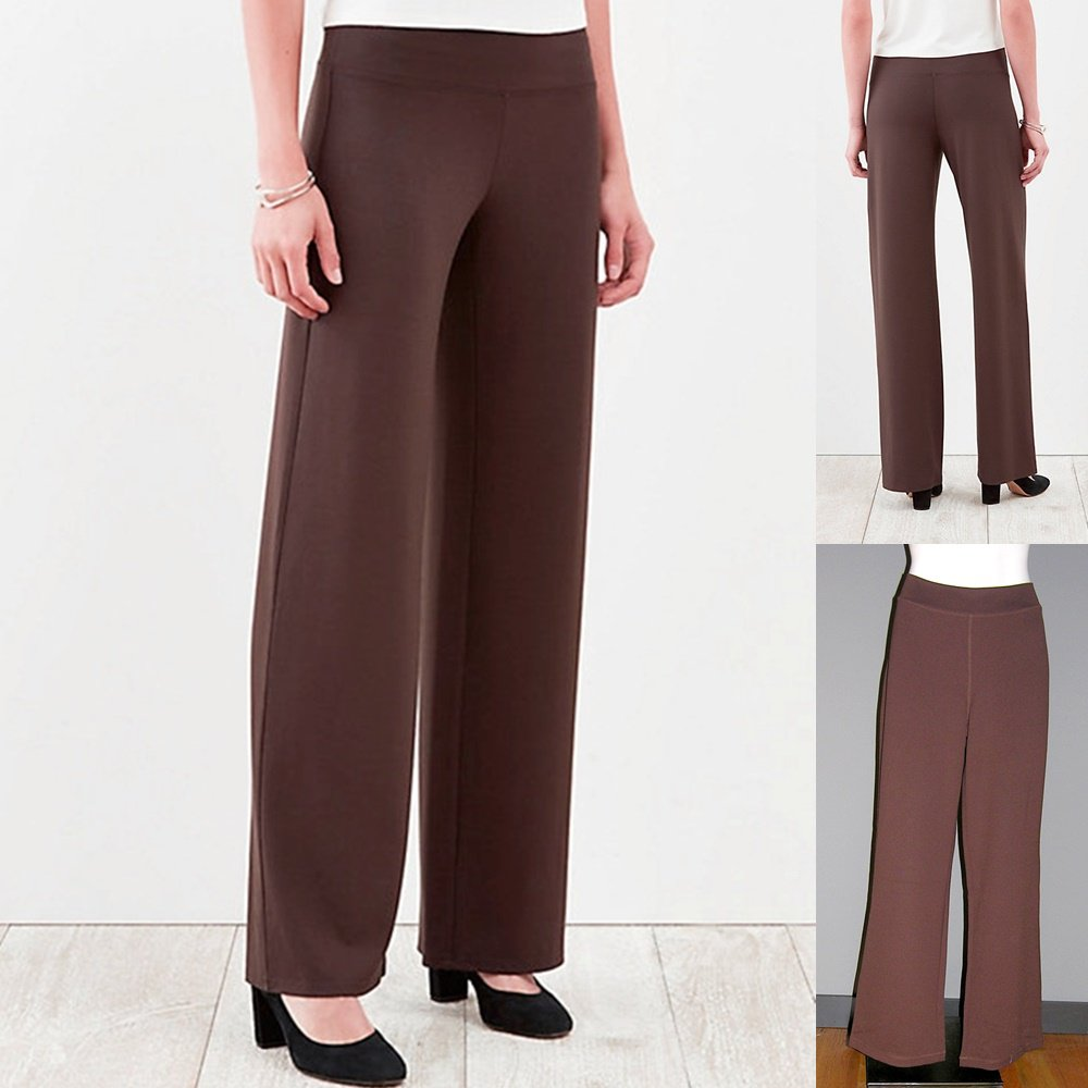 J Jill Wearever Collection Brown Smooth Full Leg Pant no wrinkle Medium Tall