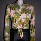 Vintage 70s tie front cropped nylon shirt blouse womans face print disco Studio 54 groovy