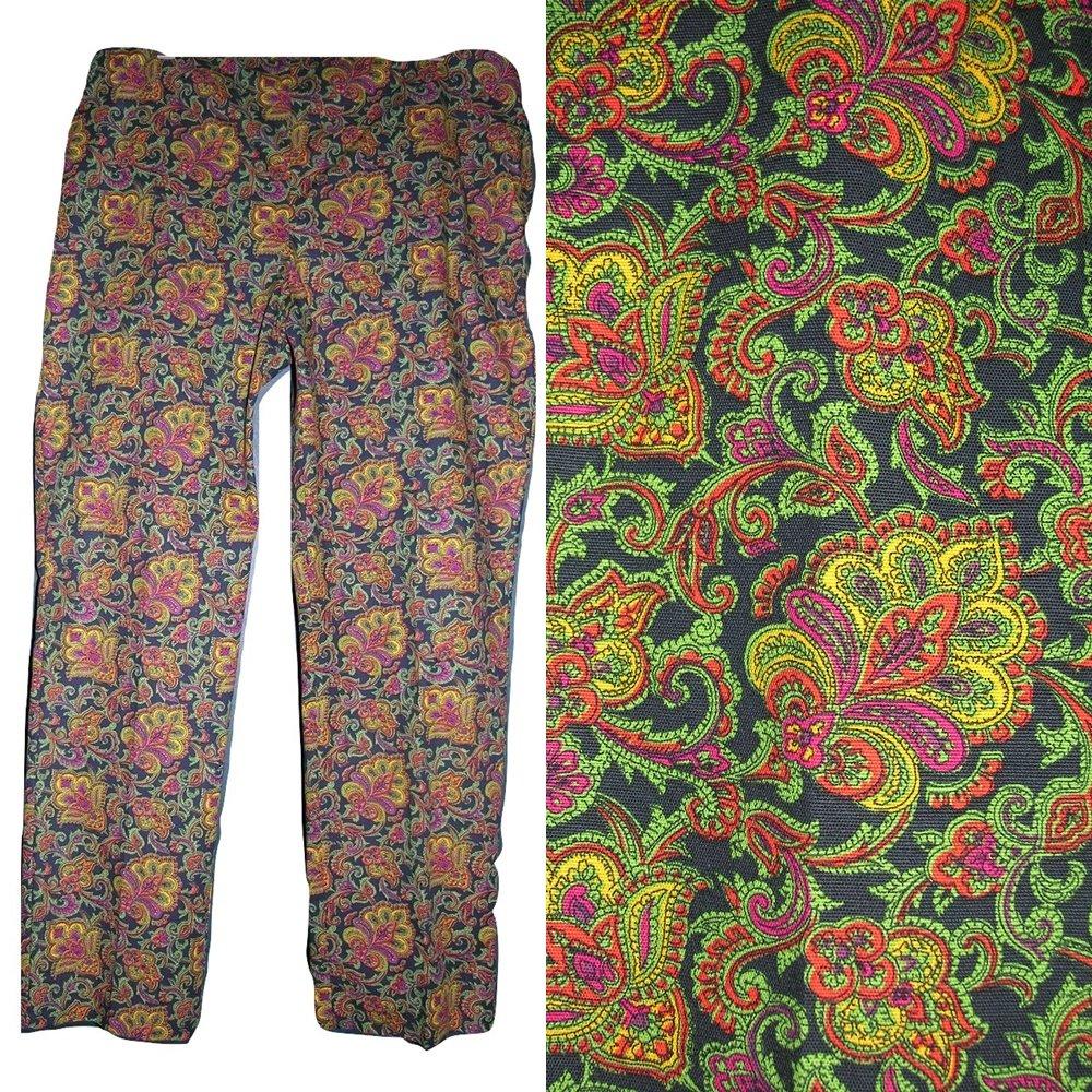 sz 16 Talbots CURVY flat front side zip cotton stretch ankle pants black paisley