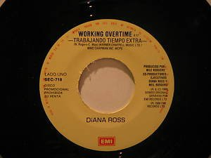 """DIANA ROSS mexico 45 WORKING OVERTIME/PARADISE 7"""" Pop PROMO EMI"""