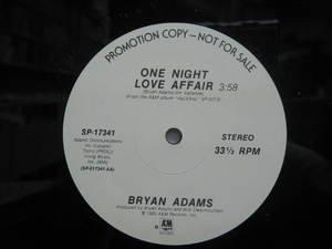"BRYAN ADAMS usa 12"" ONE NIGHT LOVE AFFAIR Dj WHITE JACKET A&M"