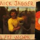 "MICK JAGGER mexico 45 LET'S WORK 7"" Rock PICTURE SLEEVE/LABEL IN SPANISH CBS"