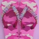 Beaded Camo Flip Flops for Girl's