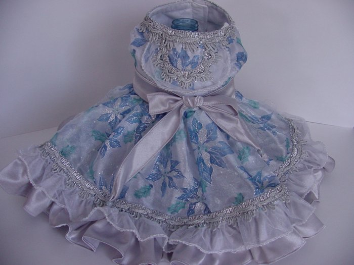Dog Clothes Appareal - Blue and Silver Holiday Poinsetta Dress