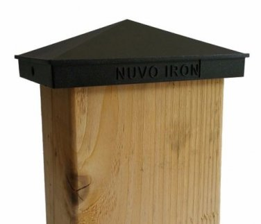 "NUVO IRON 4""x 6"" or 3.5""x 5.5"" PYRAMID ORNAMENTAL ALUMINIUM POST CAP PCP09"
