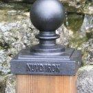 "Nuvo Iron 4"" x 4"" (3.5"" x 3.5"") BALL POST CAP PCB03 black fences fencing decorative"