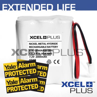 Yale HSA3095 2000mA Alarm Control Panel Battery with 3X Window Stickers