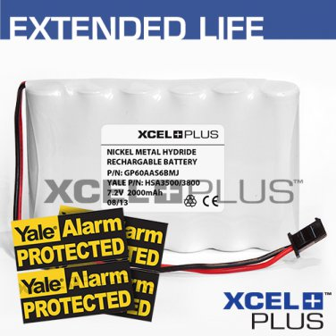 Yale HSA3500/HSA3800 2000mA Alarm Control Panel Battery with 3X Window Stickers
