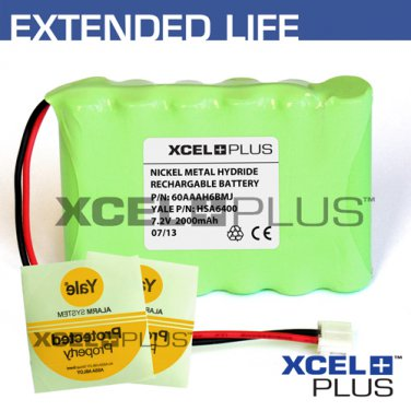 Yale HSA6400 2000mA Premium Alarm Control Panel Battery with 3X Window Stickers