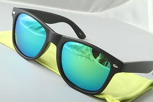 Matte Black Sunglasses With Green mirrored lenses retro 80s vintage style