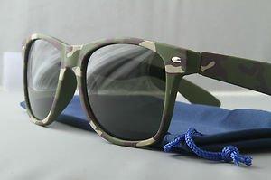 Woodland Camo Sunglasses With Dark Smoke lenses retro 80s chum lee style green