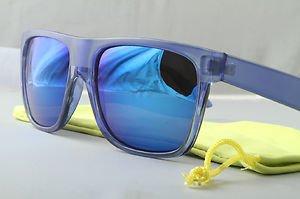 Crystal Blue FLAT-TOP Retro 80s throwback sunglasses mirrored lens stylish