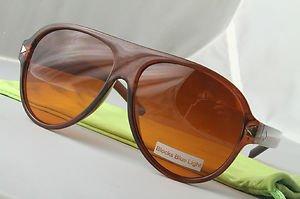 Small sized Brown Retro smooth operator aviator sunglasses Blue-Blocker hangover