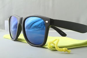 Matte Black Sunglasses With Ice Blue mirrored lenses retro 80s vintage style