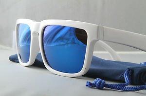 White Retro 80s SPORT style sunglasses blue mirrored lenses Great for ski snow