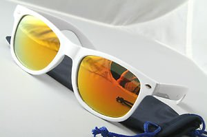 Retro 80s eighties throwback sunglasses White frame mirrored lens vintage style