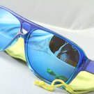 Funky Blue mirrored aviator sunglasses stunna 80s dispatch style With Pouch