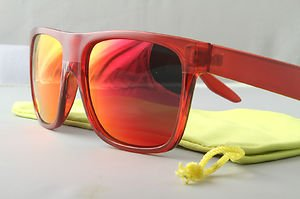 Crystal Red FLAT-TOP Retro 80s throwback sunglasses mirrored lens stylish
