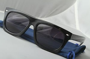Retro Gloss Black FLAT-TOP thick frame dope Sunglasses gradient lenses w/POUCH