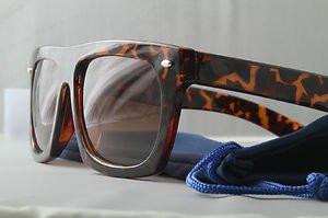 Retro Tortoise FLAT-TOP thick frame dope Sunglasses gradient lenses w/POUCH