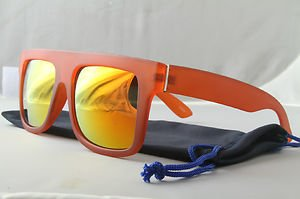 Funky Matte FLAT-TOP sunglasses Orange with gold mirror lenses Dope shades POUCH