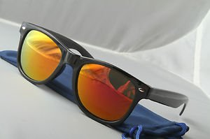 Gloss Black Sunglasses With Pink Sunset mirrored lenses retro 80s vintage style