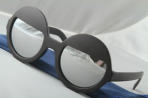 Black Funky Sleepy Eye sunglasses Chrome mirrored round lens half moon shades