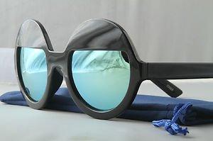 Black Funky Sleepy Eye sunglasses Sea green mirrored round lens half moon shades
