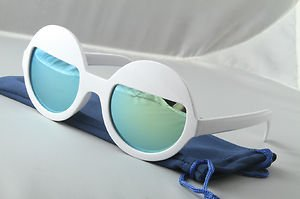 White Funky Sleepy Eye sunglasses Sea Green mirrored round lens half moon shades