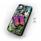 Casing iPhone 4 Case Custom Design Butterfly Abtraction Art Cover Hard Cases