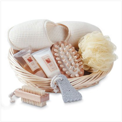 Spa Bath Set with Slippers in Basket