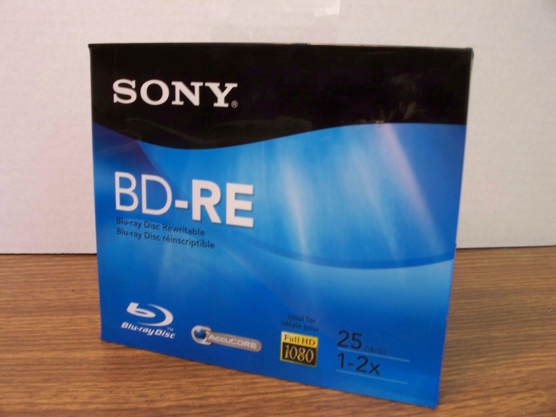 Sony BD-RE Blu-Ray Rewritable Disc (BNE25RH) 25GB 1-2x Full HD 1080 *NEW*