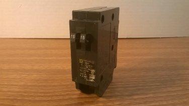 Square D HOMT Circuit Breaker (HOMT1515) 15Amp 240Volt 2Pole 10kA *USED*