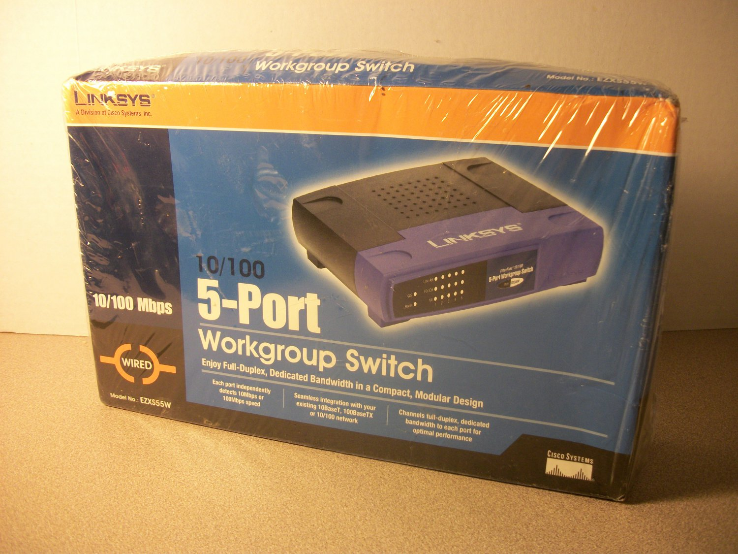 Linksys 5-Port 10/100Mbps Workgroup Switch (EZXS55W) *NIB*