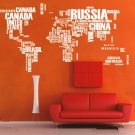 World map wall decal Removable map Vinyl map wall decal-World Map Wall Sticker