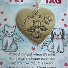 Brass Guardian Angel Cat/Pet Tag New