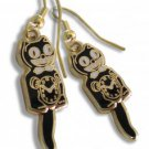 Kit Kat Cat Black Clock Earrings Tail Swings W/Motion Fish Hook Back Made in USA