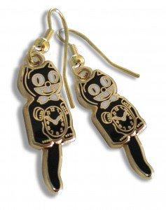 Kit Kat Cat Black Clock Earrings Tail Swings W/Motion Fish Hook Back Made in USA
