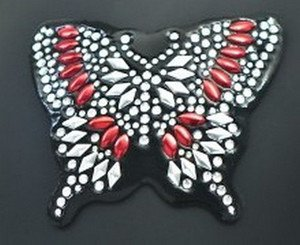 Red Butterfly Rhinestone Motorcycle Helmet Patch or apply to any smooth surface