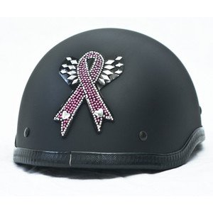 Pink Ribbon Rhinestone Motorcycle Helmet Patch or apply to any smooth surface