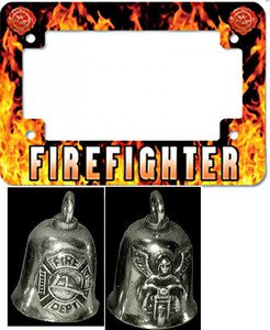 Firefighter Motorcycle License Plate Frame & Gremlin Bell Made in USA
