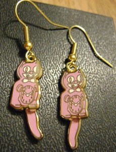 Kit Kat Cat Pink Clock Earrings Tail Swings W/Motion Fish Hook Back Made in USA