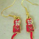 Kit Kat Cat Red Clock Earrings Tail Swings W/Motion Fish Hook Back Made in USA