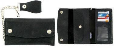 Black Biker/Trucker Leather Checkbook Organizer Chain Wallet Made in USA